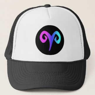 Aries Black Circle Crest Aqua Blue Purple Pink Trucker Hat