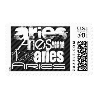 Aries; Black & Dark Gray Stripes Postage