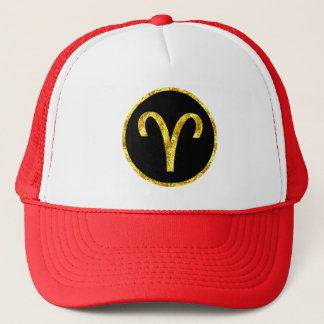 aries-black-gold-crest-hat trucker hat