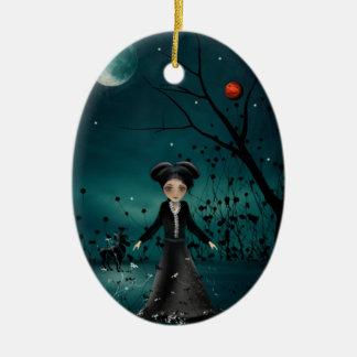 Aries - chicas del zodiaco - ornamentos adorno navideño ovalado de cerámica