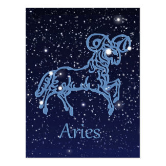 Aries Constellation and Zodiac Sign with Stars Postcard