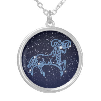 Aries Constellation and Zodiac Sign with Stars Silver Plated Necklace