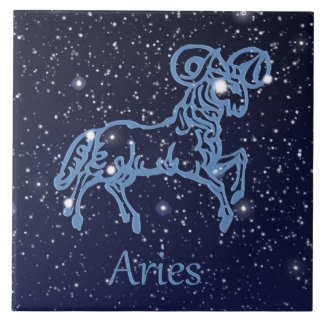 Aries Constellation and Zodiac Sign with Stars Tile