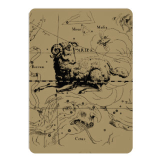 Aries Constellation Map Engraving by Hevelius Card
