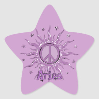 Aries de Sun de la paz Pegatina En Forma De Estrella