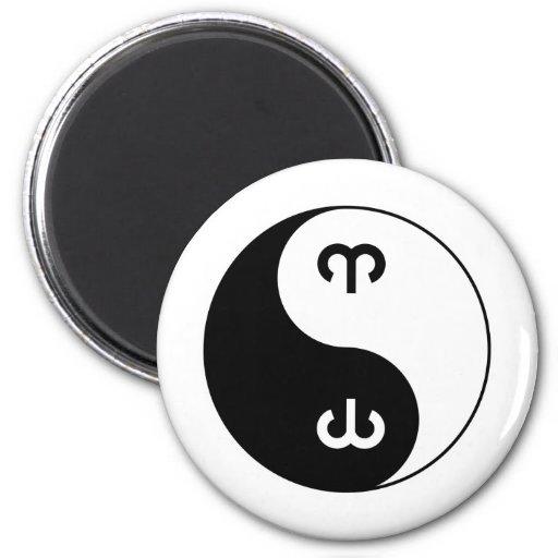 Aries de Yin Yang Imán Redondo 5 Cm