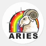 Aries del arco iris pegatina redonda