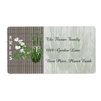 Aries del bambú y del lirio etiquetas de envío