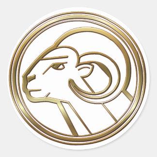 Aries del latón y del cobre etiquetas redondas