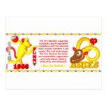 Aries del mono del fuego del zodiaco de ValxArt Postal
