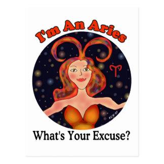 Aries Excuse Zodiac Chick Postcard