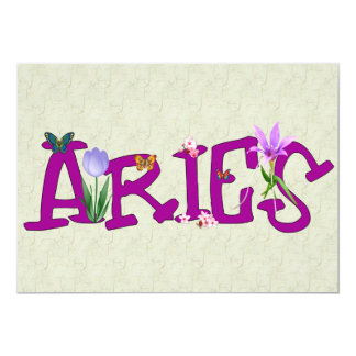 "Aries Flowers 5"" X 7"" Invitation Card"