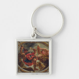 Aries, from the Signs of the Zodiac Silver-Colored Square Keychain