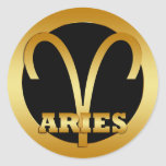 ARIES GOLD ZODIAC SIGN CLASSIC ROUND STICKER
