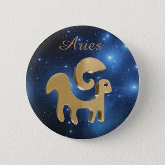 Aries golden sign pinback button