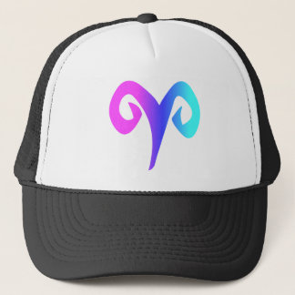 Aries Horoscope Sign Pink Blue Aqua Zodiac Symbol Trucker Hat