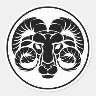 Aries Horoscope Zodiac Sign Classic Round Sticker