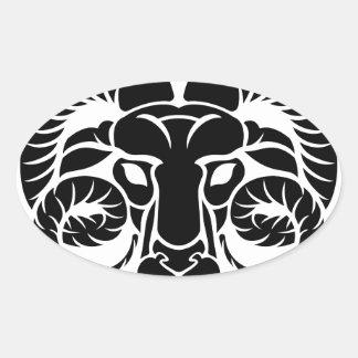 Aries Horoscope Zodiac Sign Oval Sticker