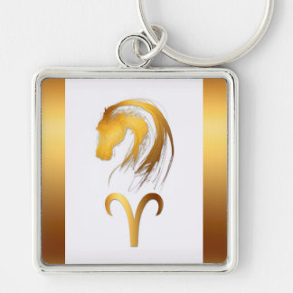Aries Horse Chinese and Western Astrology Silver-Colored Square Keychain