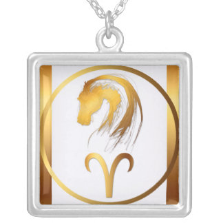 Aries Horse Chinese and Western Astrology Square Pendant Necklace