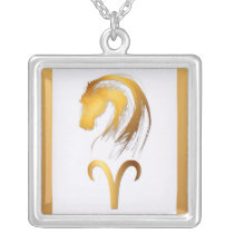 Aries Horse Chinese Western Astrology Silver Plated Necklace