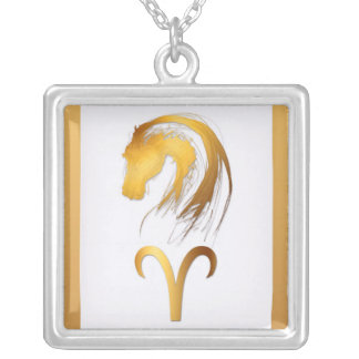 Aries Horse Chinese Western Astrology Square Pendant Necklace