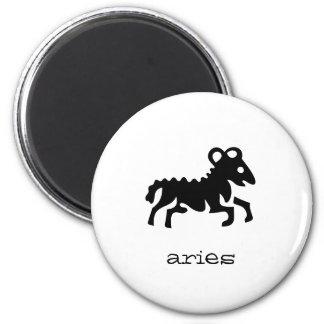 Aries in black 2 inch round magnet