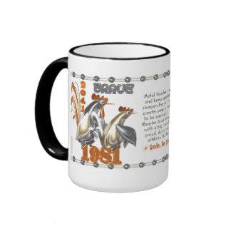 aries llevado gallo del metal del zodiaco de 1981 taza de dos colores