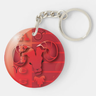 Aries-March 21 to April 20 Double-Sided Round Acrylic Keychain