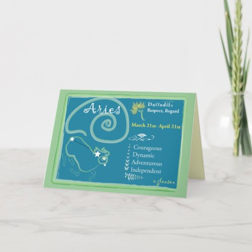 Aries March Greeting Card card