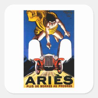 Aries Motorcar ~ Vintage Touring Car Advertisement Square Sticker