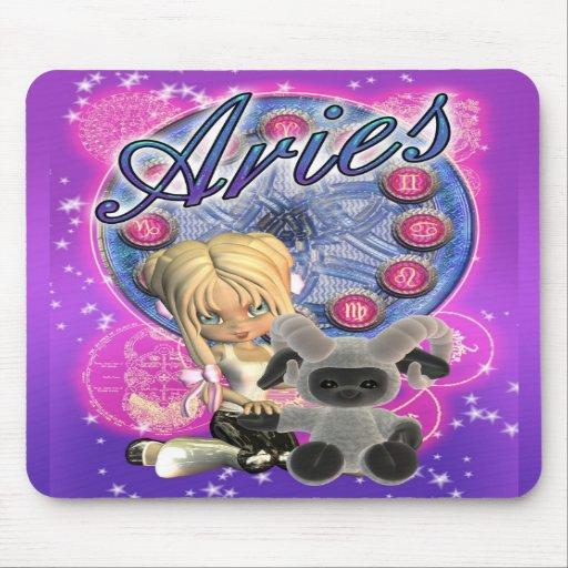 Aries Mousepad con la hembra y el espolón lindos Tapetes De Raton