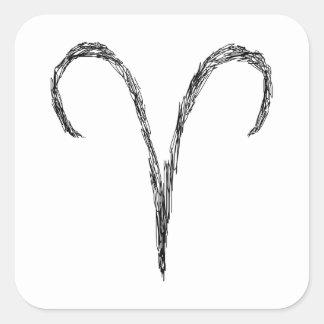 Aries. Muestra de la astrología del zodiaco. Negro Calcomania Cuadradas Personalizada