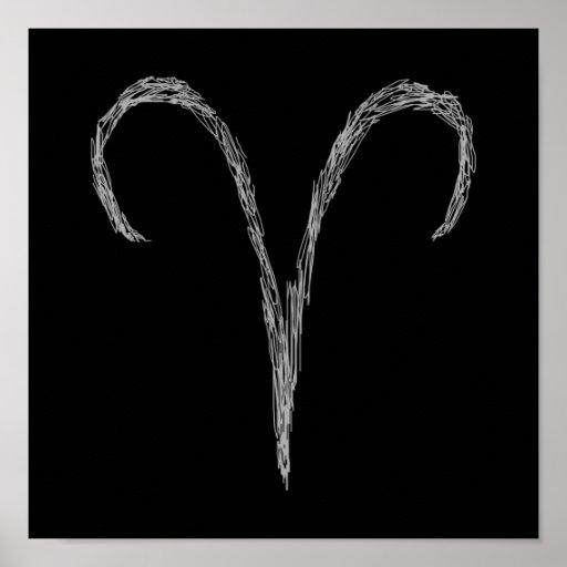 Aries. Muestra de la astrología del zodiaco. Negro Póster