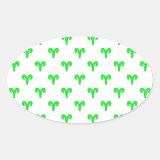 Aries Pattern Green Oval Sticker