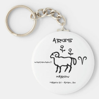 Aries Personalized Basic Round Button Keychain