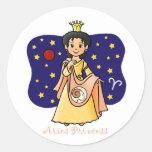 Aries Princess Round Stickers