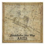 Aries Ram Constellation Star Map Bee April Poster