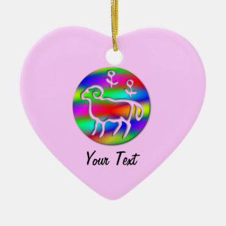 Aries Ram Zodiac Rainbow Birthday Pink Heart Ceramic Ornament