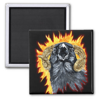 Aries Raven watercolor 2 Inch Square Magnet