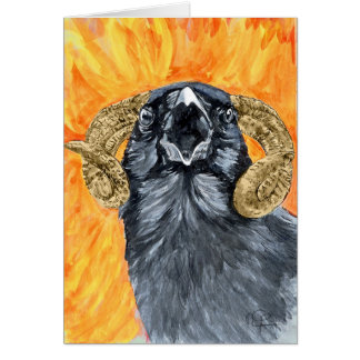 Aries Raven watercolor Card