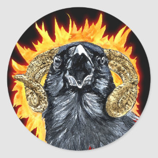 Aries Raven watercolor Classic Round Sticker