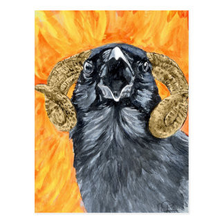 Aries Raven watercolor Postcard