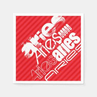 Aries; Rayas del rojo del escarlata Servilleta Desechable