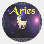 Aries Round Stickers