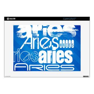 Aries; Royal Blue Stripes Laptop Decal