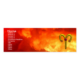 ARIES ,  ruby  yellow red flames Mini Business Card