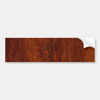Aries Sign on Mahogany like print decor Bumper Sticker