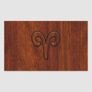 Aries Sign on Mahogany like print decor Rectangular Sticker