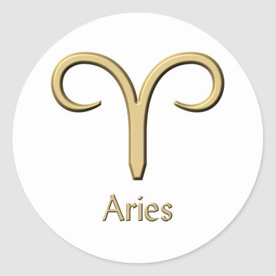 Aries symbol classic round sticker